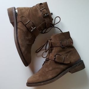 Vince Camuto Suede Leather Combat Moto Boots 6.5